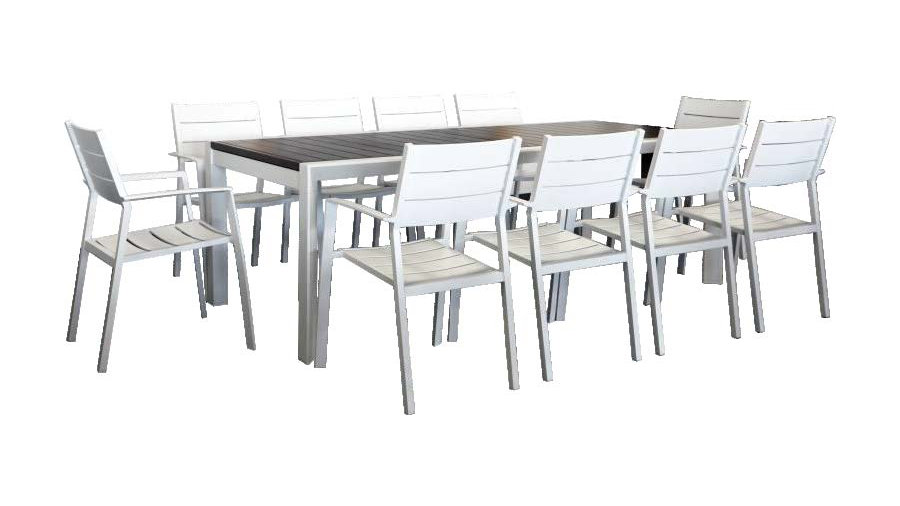 Oxford 11PC Extension Dining Setting w/Slat Chairs