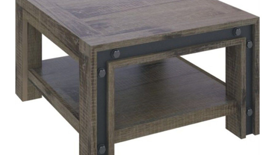 Warehouse Lamp Table with Shelf