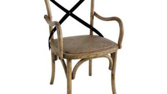 Cross Metal Back Arm Chair/ Carver