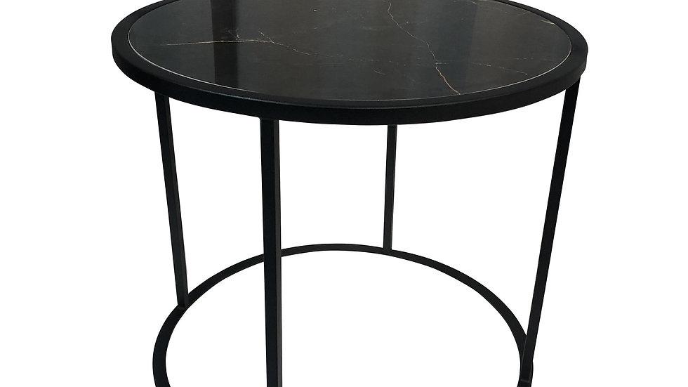 Carrera Side Table Black Porcelain