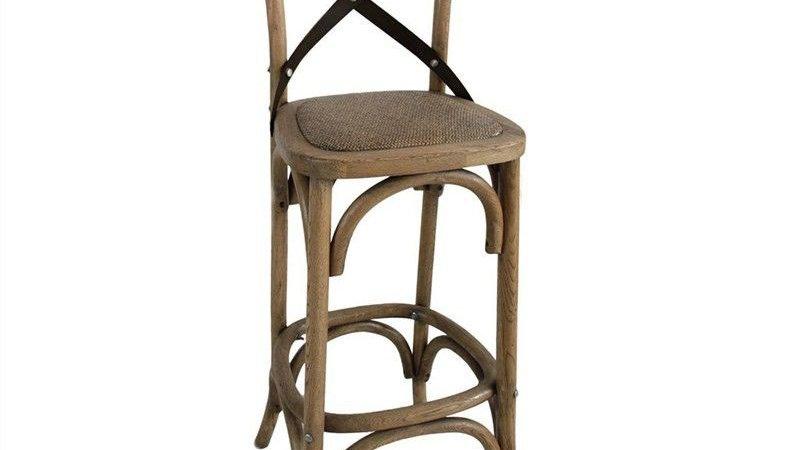 Metal Cross Back Bar Chair-Rattan Seat (H 66.5cm)