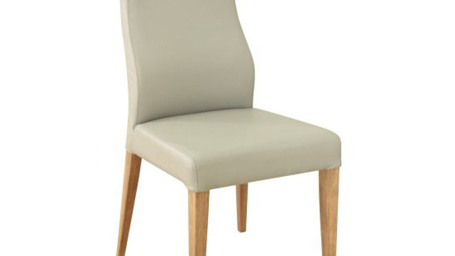 Eva Dining Chair Leather - Light Grey