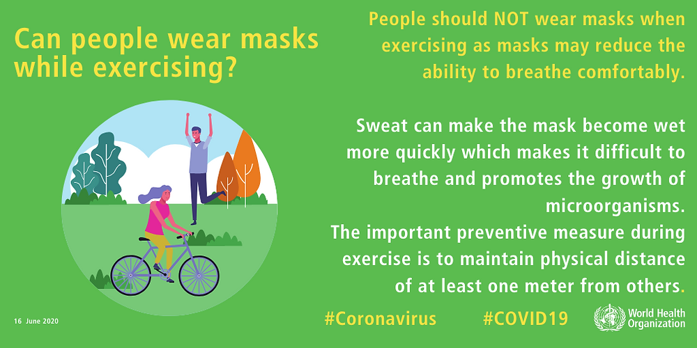 WHO infographic - wearing mask while exercising