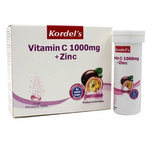 Kordel's Vitamin C 1000mg + Zinc Effervescent Passion Fruit (3X10S)