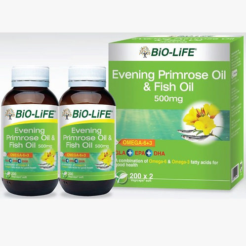 BiO-LiFE Evening Primrose Oil & Fish Oil 500mg (2X200S)
