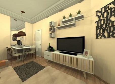 Decoração da sala de estar e jantar