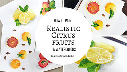 Paint realistic citrus fruits with watercolors