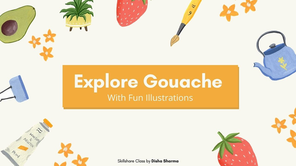 Learn Gouache painting with fun illustrations