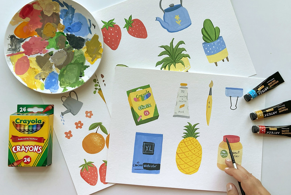Fun and easy illustrations with gouache