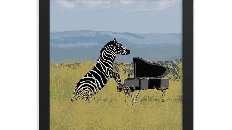 Zebra Pianist- Framed photo paper poster