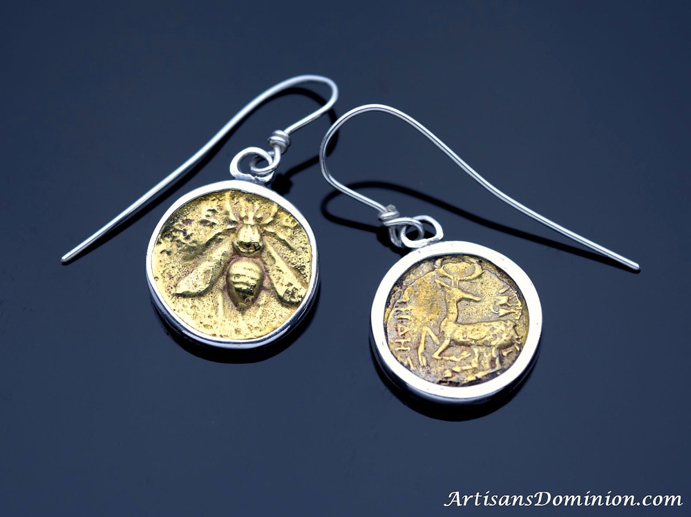 Ephesus Honeybee & Stag Tetradrachm Earrings