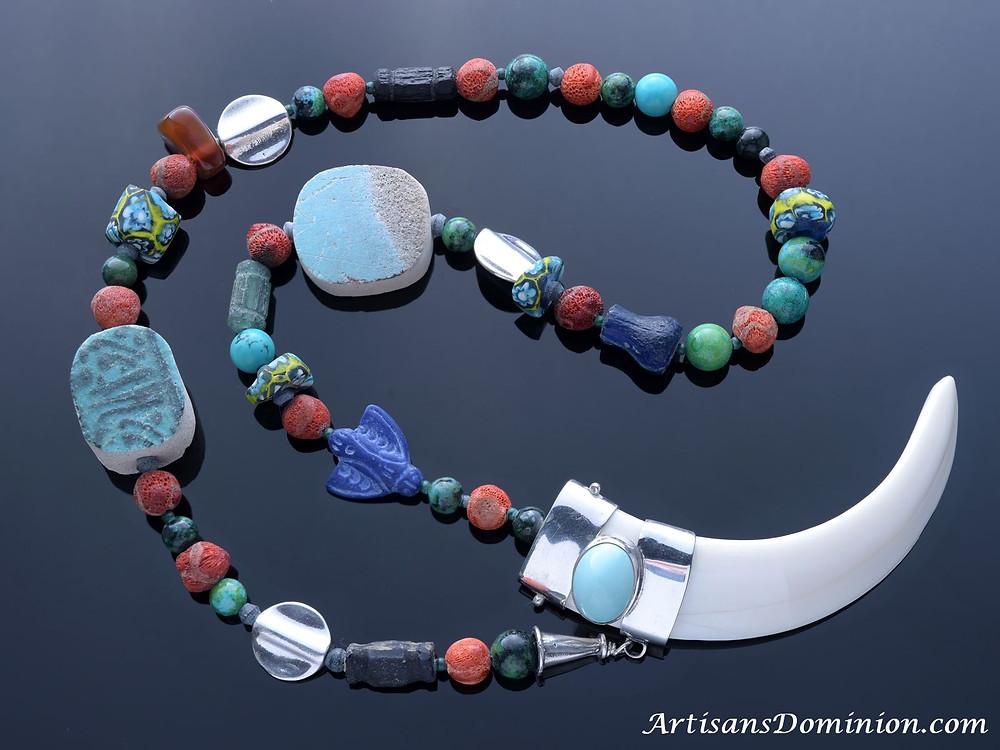 Boar Tusk Tribal Necklace: Cupid's Arrow