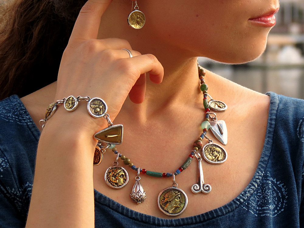 Golden Hour Silver Bracelet with Ancient Coins