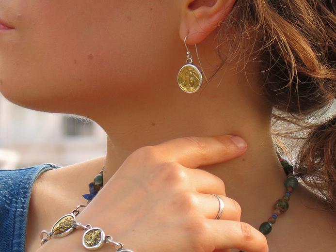 Ephesus Honeybee & Stag Tetradrachm Earring