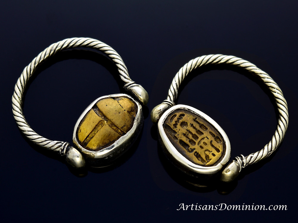 Queen Nefertiti's Golden Scarab Seal (reproduction) set in a Sterling silver Ring