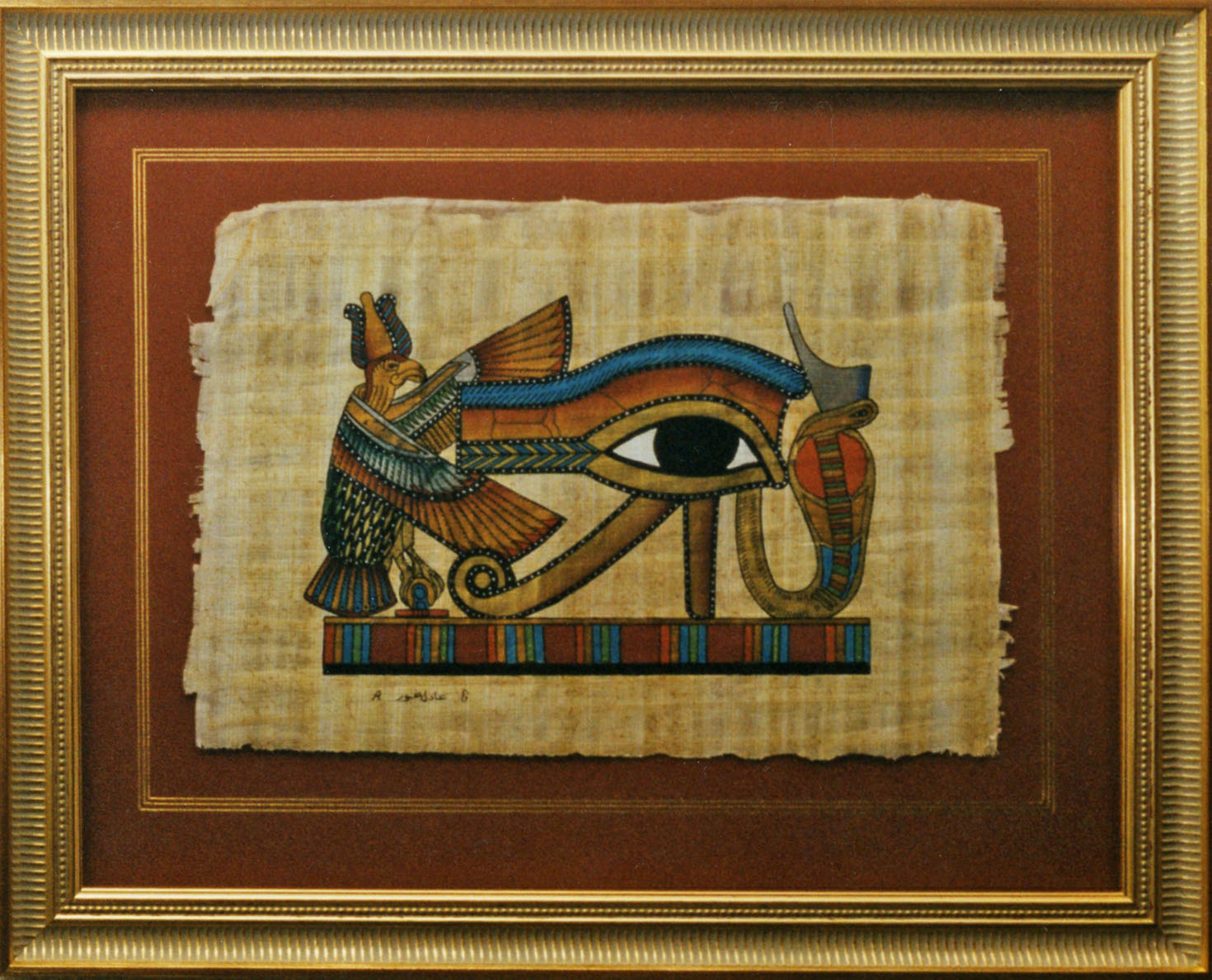 Egyptian Papyrus with Gold Lines.