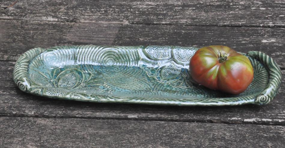 Green handled tray