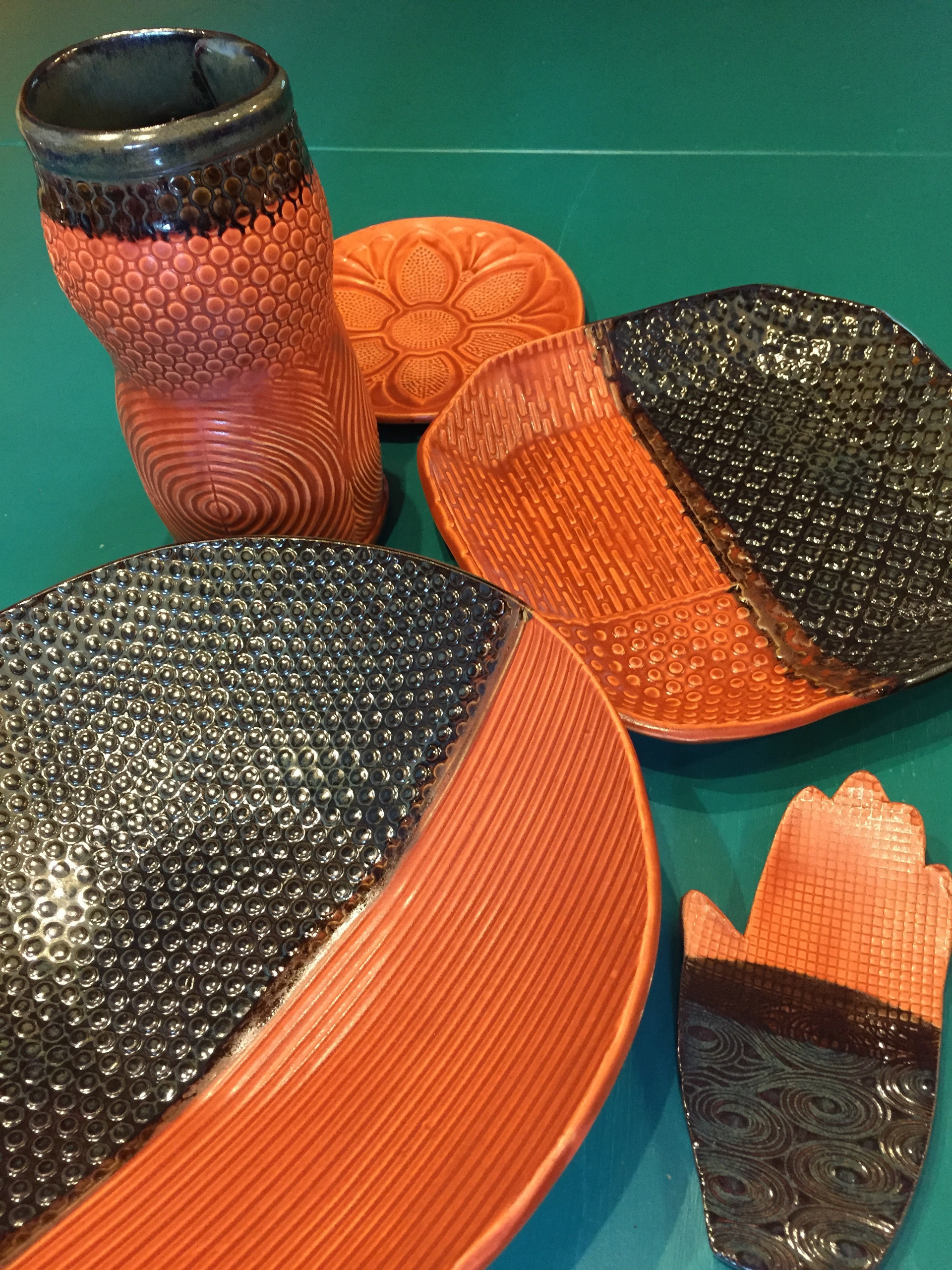 Assorted textured pottery