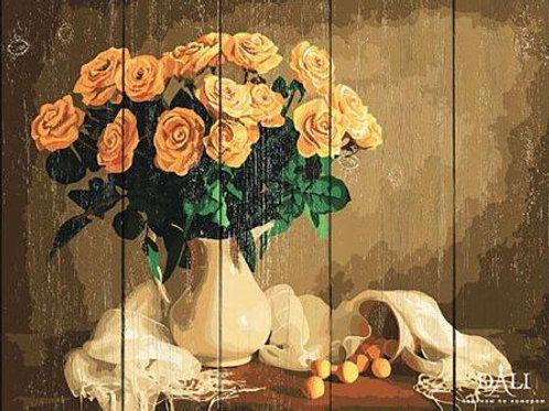 """Картины по номерам по дереву WS032 """"Жёлтые розы"""" 40х50 см"""