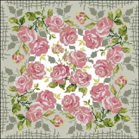 """Вышивка крестом """"Наволочка""""Белые розы"""" 720 размер готовой подушки:40х40. Риолис"""