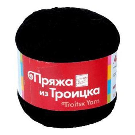 Пряжа из Троицка Астра -0140- чёрный 610м/100г 100% мерсеризованный хлопок Тр