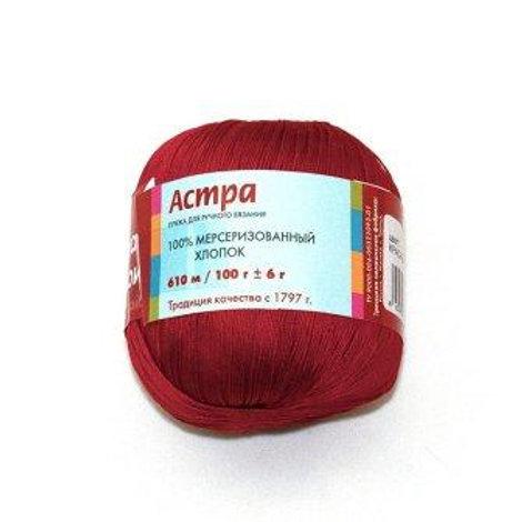 Пряжа из Троицка Астра -0040 красный 60м/100г 100% мерсеризованный хлопок Тр
