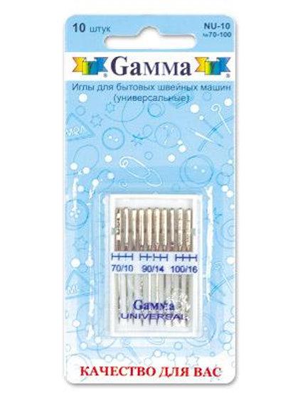 Иглы для бытовых швейных машин (универсальные) NU-10, №70-100, Гамма