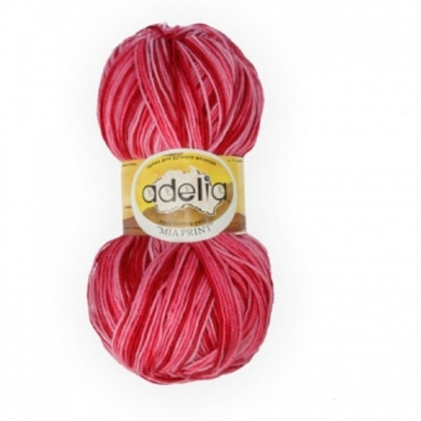 Adelia Mia print - 08 - розовый, бордовый  100г/307м