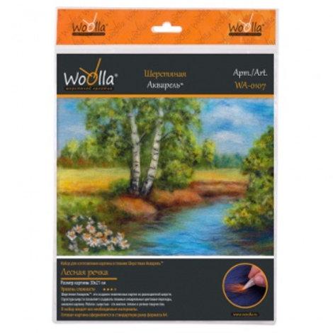 "Шерстяная акварель ""Лесная речка"" размер: 21х30см. Woolla"