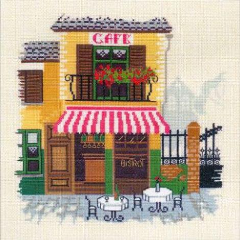 """Вышивка крестом """"Кафе"""" 1217 Риолис. Размер готовой работы: 18х18 см"""