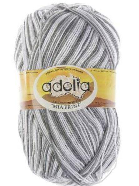 Adelia Mia print - 01 - белый, серый  100г/307м