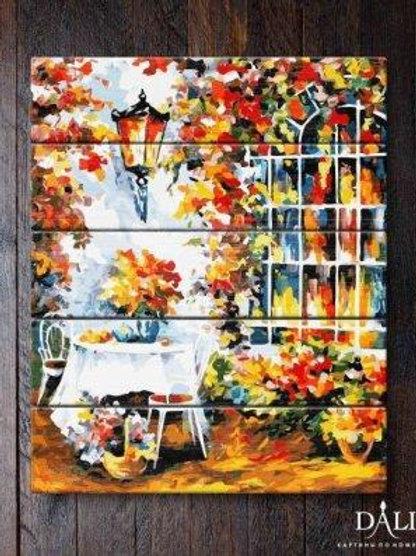 """Картины по номерам по дереву WA 029 """"Столик в саду"""""""