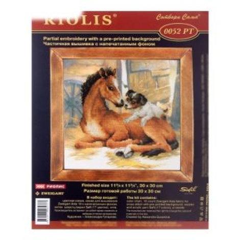 """Вышивка крестом """" Жеребенок и щенок """", 0052 РТ размер: 30х30 см. Риолис"""