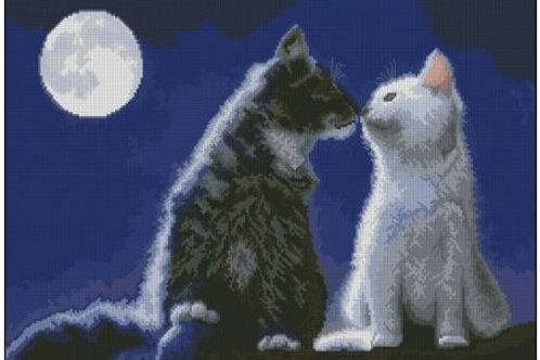 """Канва с рисунком для вышивания """"Кошки под луной"""" арт. ММ3045 Гамма"""