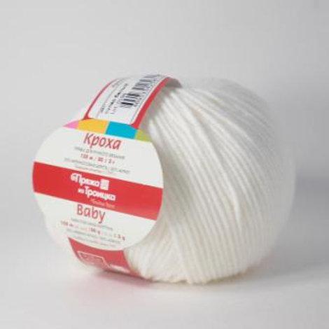Пряжа из Троицка Кроха-235-супер белый 135м/50г  20%шерсть 80%акрил Тр
