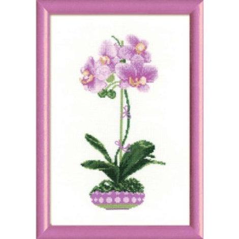 """Вышивка крестом """"Сиреневая орхидея"""" 1163, размер работы: 21х30 см. Риолис"""