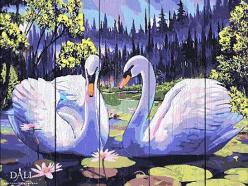 """Картины по номерам по дереву WS037 """"Лебединое озеро"""" 40х50 см"""