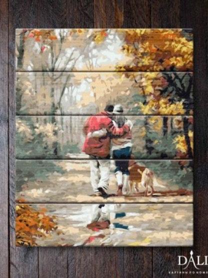 "Картины по номерам по дереву WJ005 ""Прогулка по осеннему лесу"" 40х50 см"