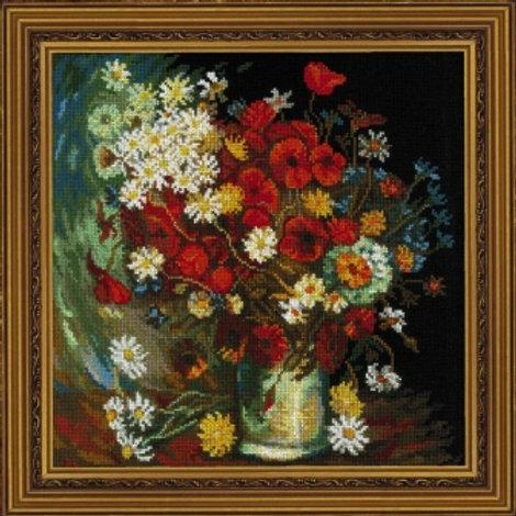 """Вышивка крестом """"Ваза с маками васильками и хризантемами"""" размер: 30х30 см Риоли"""