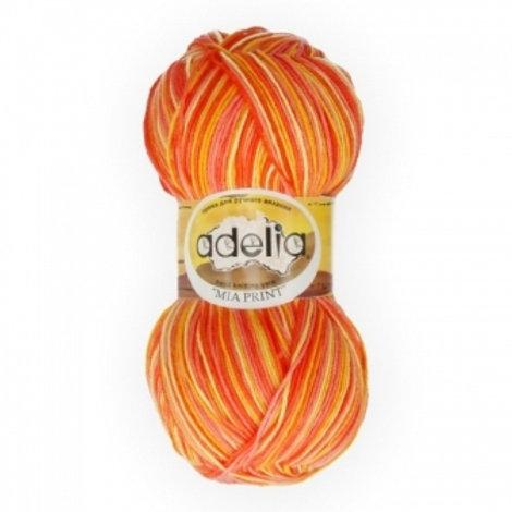 Adelia Mia print - 05 - розовый, оранжевый, желтый  100г/307м