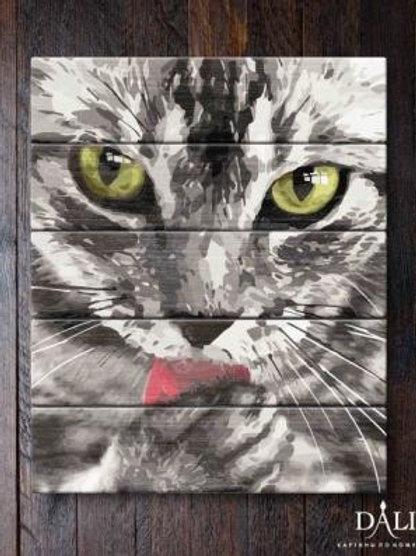 "Картины по номерам по дереву WН031 ""Кот"" 40х50 см"
