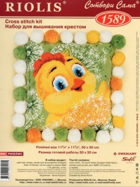 """Вышивка крестом """" Цыплёнок подушка""""  размер готовой работы: 30х30 см Риолис"""