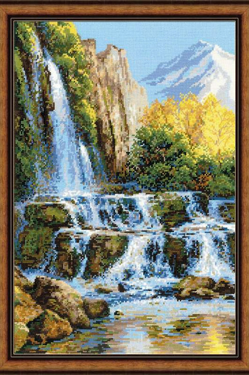"""Вышивка крестом """"Пейзаж с водопадом"""", 1194"""