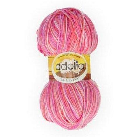 Adelia Mia print - 07 - оранжевый, сиреневый, розовый 100г/307м