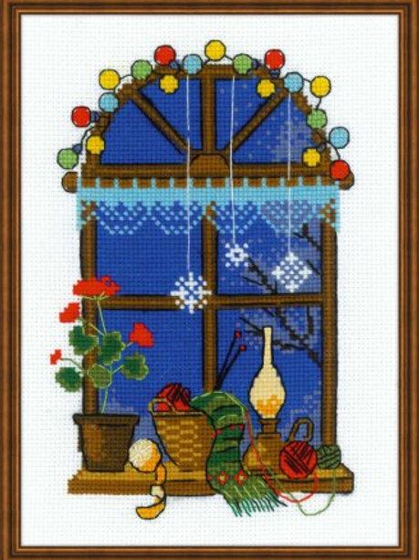 """Вышивка крестом """"Зимнее окно"""" размер готовой работы: 15х21 см Риолис"""