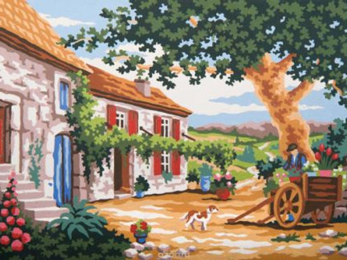 """Канва-страмин с нанесенным рисунком для вышивания"""" Тосканский дворик"""" GRAFITEC"""