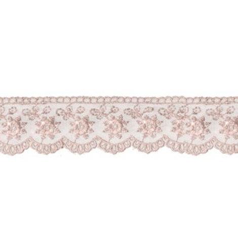 """Кружево""""Гамма"""" сетка 5225, цвет: бежево-розовый."""
