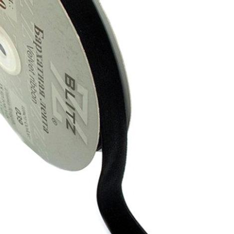 Бархатная лента VR-06 чёрный 6мм BLITZ
