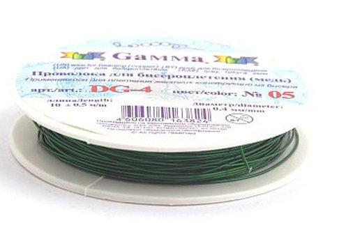 """Проволока для бисероплетения, цвет: № 05 (зеленый). D: 0,4мм """"Гамма"""""""