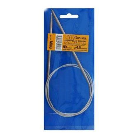 Круговые спицы для вязания на металлической леске 80 см, 4,5 мм, Gамма